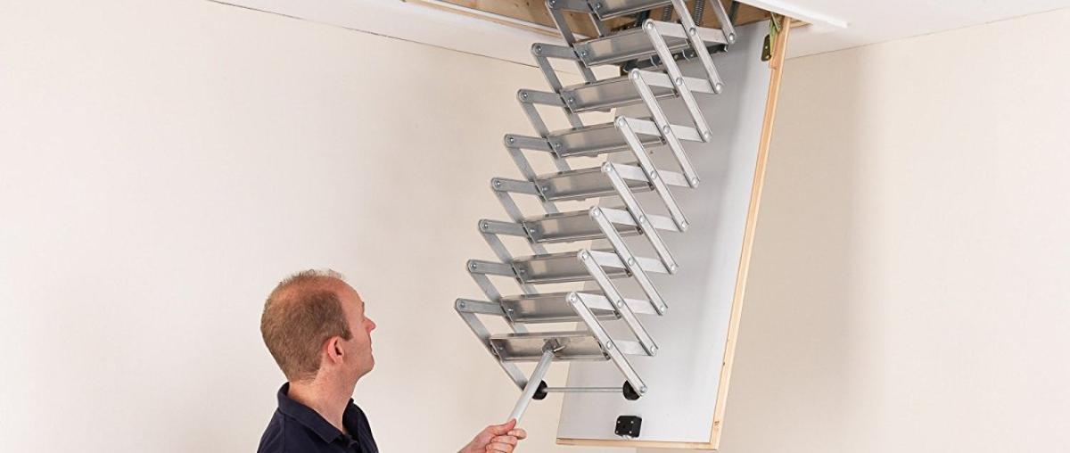 Dachbodenleiter / Dachbodentreppe mit Ziehharmonika-System von Alufix