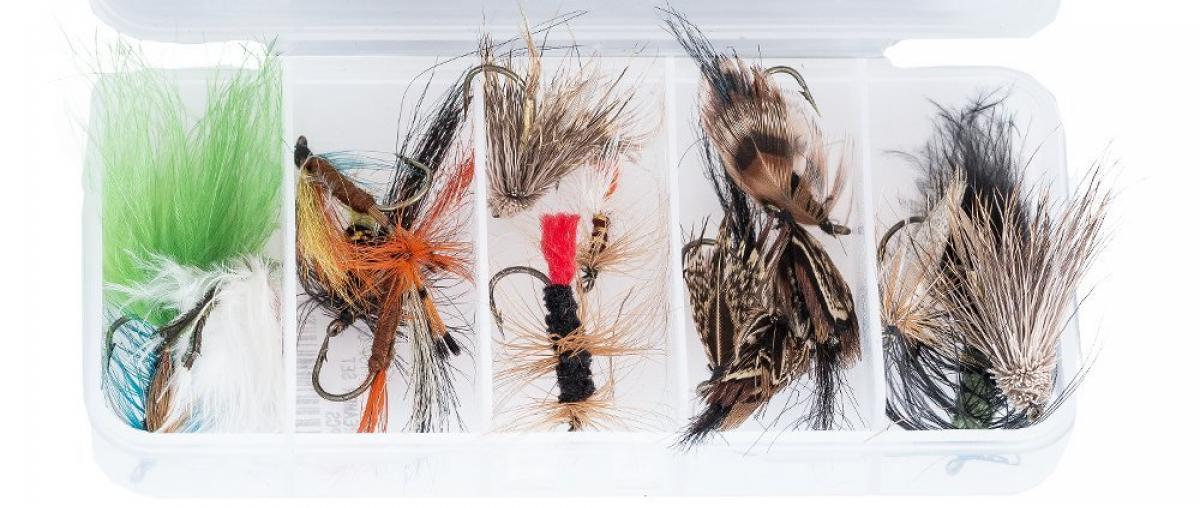 Ein Set Angelköder zum Fliegenfischen in einer Aufbewahrungsbox