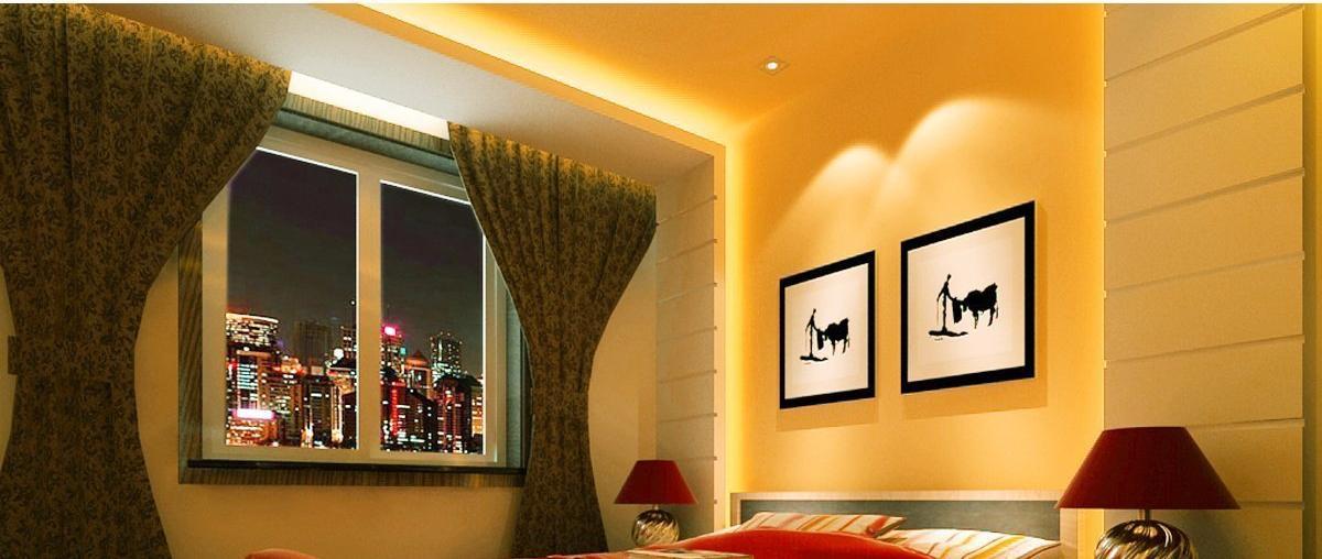 LED Streifen leuchten eine Wand, Bilder und ein Zimmer aus