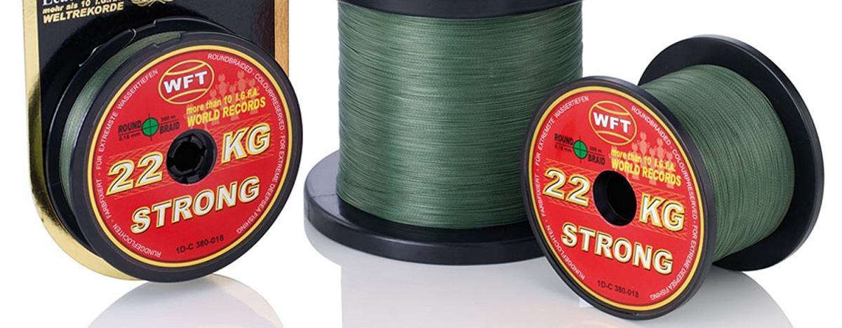 Mehrere Rollen von 300m geflochtener Angelschnur mit einem Durchmesser von 0,25mm
