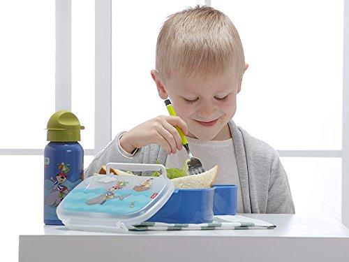 Praktische Brotzeitdose für Jungen mit kindlichem Motiv, Kleiner Pirat mit Delphin und Papagei - Ideal für Schule, Kindergarten und Familienausflug