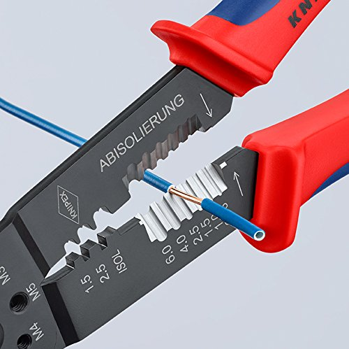 Knipex Crimpzange und Universalzange: Zum Crimpen isolierter Kabelschuhe und Steckverbinder von 0,75 bis 6,0 mm² sowie unisolierter, offener Steckverbinder von 0,5 bis 6 mm²