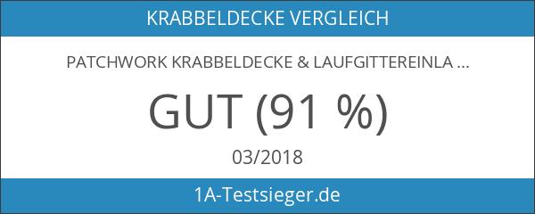 Patchwork Krabbeldecke & Laufgittereinlage MINT GRAU