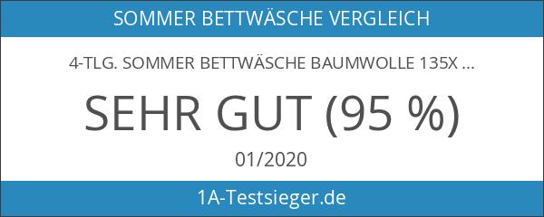 4-tlg. Sommer Bettwäsche Baumwolle 135x200 CelinaTex 6000012 Fashion Mimar weiß