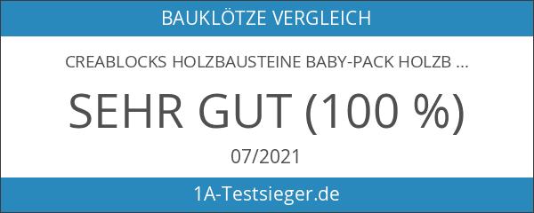 CreaBLOCKS Holzbausteine Baby-Pack Holzbauklötze für Kleinkinder ab 6 Monate Holzklötze