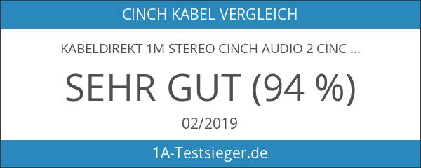 KabelDirekt 1m Stereo Cinch Audio 2 Cinch zu 2 Cinch