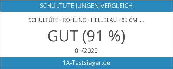 Schultüte - Rohling - hellblau - 85 cm - mit