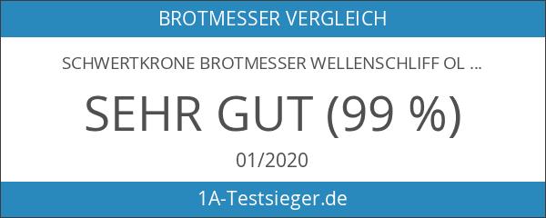 """Schwertkrone Brotmesser Wellenschliff Olivenholz aus Solingen Klingenlänge 20 cm 8"""""""