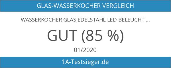 Wasserkocher Glas Edelstahl LED-Beleuchtung 2200 Watt Glaswasserkocher Kocher Teekocher 360°