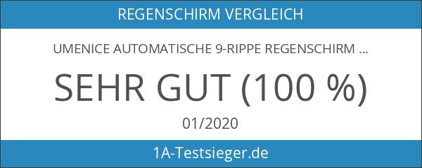 Umenice Automatische 9-Rippe Regenschirm Reise windundurchlässiges Mit 210T-Material Teflon Schwarz