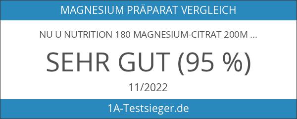 Nu U Nutrition 180 Magnesium-Citrat 200mg Tabletten - 6 Monatsversorgung