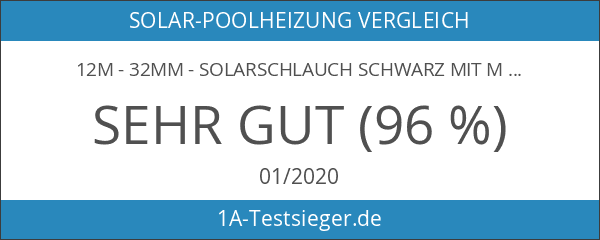 12m - 32mm - Solarschlauch schwarz mit Muffe für Pool