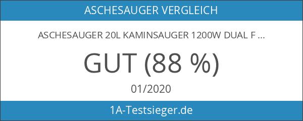 Aschesauger 20L Kaminsauger 1200W DUAL Filter System mit 3 Rollen