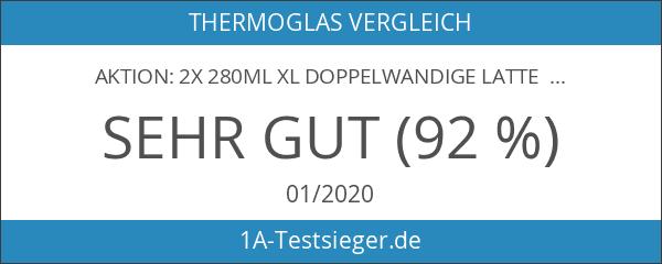 AKTION: 2x 280ml XL doppelwandige Latte Macchiato-Gläser