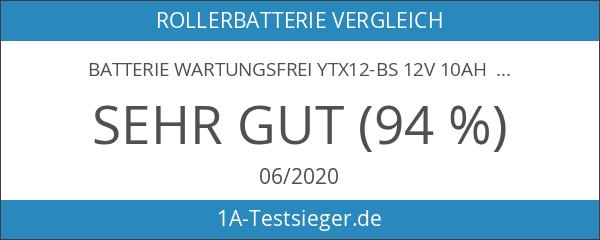 Batterie wartungsfrei YTX12-BS 12V 10AH inkl. Säure DIN: 5012LF für