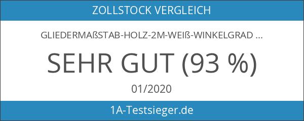 Gliedermaßstab-Holz-2m-weiß-Winkelgradeinteilung-rote Zehnerzahlen-Meterstab-Zollstock-Werkzeug-Made in Germany-guenstig