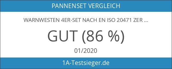 Warnwesten 4er-Set nach EN ISO 20471 Zertifiziert Warnweste Auto Neon-Orange