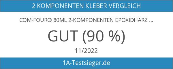COM-FOUR® 80ml 2-Komponenten Epoxidharz-Kleber mit 4x Kunststoffspachtel