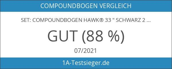 """SET: Compoundbogen Hawk® 33 """" Schwarz 25 lbs Cable Wire"""