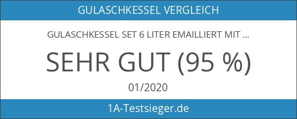 Gulaschkessel Set 6 Liter emailliert mit Deckel von Grillplanet