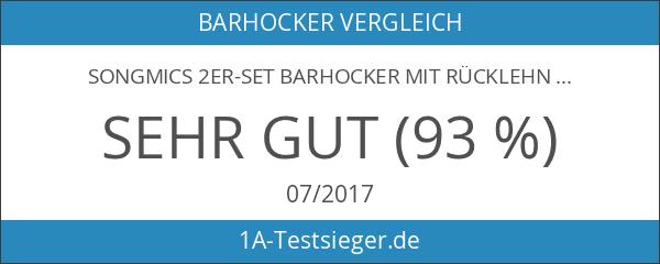 Songmics 2er-Set Barhocker mit rücklehne und robustem standfuß Ø 41