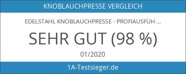 Edelstahl Knoblauchpresse - Profiausführung - Babykost geeignet - 10 Jahre