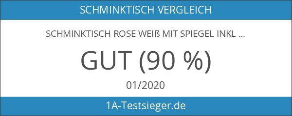 Schminktisch Rose weiß mit Spiegel inkl. Hocker *415
