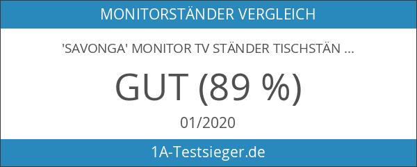 'SAVONGA' MONITOR TV STÄNDER Tischständer 203L mit Schwenkarme drehbar schwenkbar