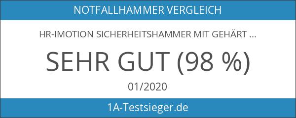 hr-imotion Sicherheitshammer mit gehärteter Stahlspitze und Gurtschneider [Made in Germany