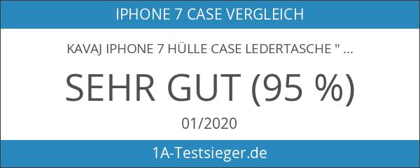 "KAVAJ iPhone 7 Hülle Case Ledertasche ""Dallas"" cognac braun aus"
