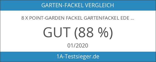 8 x point-garden Fackel Gartenfackel Edelstahl 115 cm