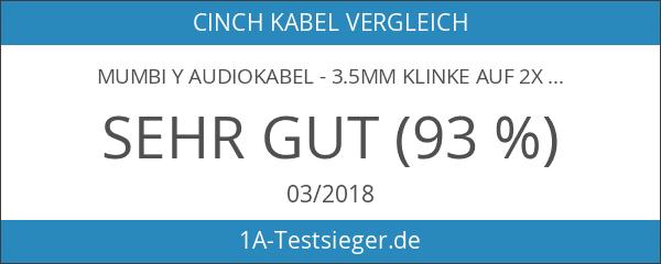 mumbi Y Audiokabel - 3.5mm Klinke auf 2x Cinch mit