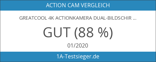 GreatCool 4K Actionkamera Dual-Bildschirm-Design Wireless-Fernbedienung Camera Wasserdicht mit 2 Verbesserten