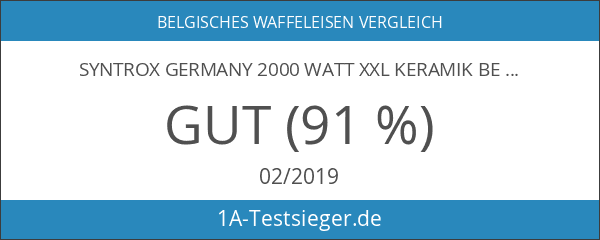 Syntrox Germany 2000 Watt XXL Keramik beschichtetes Waffeleisen für 4