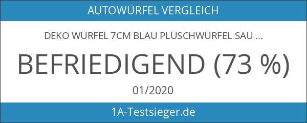 Deko WÜRFEL 7cm BLAU Plüschwürfel Saugnapf Auto Autowürfel Glückswürfel Spiegel