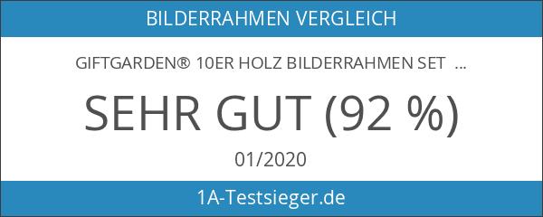 Giftgarden® 10er Holz Bilderrahmen Set MIT Passepartout 10x15