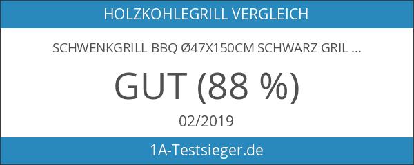 Schwenkgrill BBQ Ø47x150cm schwarz Grillrost Holzkohlegrill Standgrill