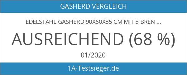 Edelstahl Gasherd 90x60x85 cm mit 5 Brennern und Gas Ofen