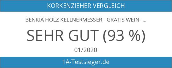 BENKIA Holz Kellnermesser - Gratis Wein-Ratgeber Ebook - Profi Korkenzieher