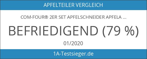 COM-FOUR® 2er Set Apfelschneider Apfelausstecher Apfelteiler aus Edelstahl mit Kunststoffrahmen