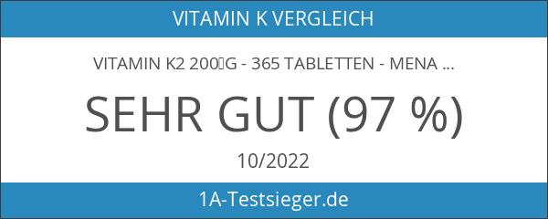 Vitamin K2 200µg - 365 Tabletten - Menaquinon MK7 -