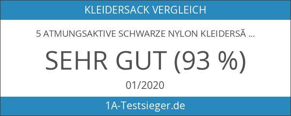 5 Atmungsaktive Schwarze Nylon Kleidersäcke - reisetauglich - ca. 112