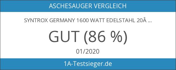 Syntrox Germany 1600Watt Edelstahl 20Liter Aschesauger mit Motor