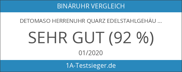 DETOMASO Herrenuhr Quarz Edelstahlgehäuse Edelstahlarmband Mineralglas SPACY TIMELINE 1 Binär