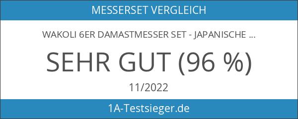 Wakoli 6er Damastmesser Set - Japanischer Damaststahl VG-10