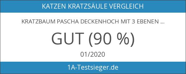 Kratzbaum Pascha Deckenhoch mit 3 Ebenen creme 240-260cm