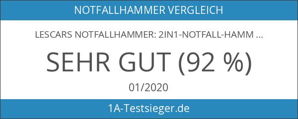 Lescars Notfallhammer: 2in1-Notfall-Hammer mit integriertem Gurtschneider für Kfz