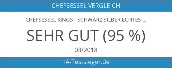 Chefsessel Kings - Schwarz Silber Echtes Leder - Das Original