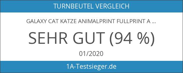 Galaxy Cat Katze Animalprint Fullprint Allover Beutel Tasche Turnbeutel Jutetasche