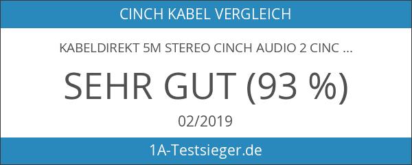 KabelDirekt 5m Stereo Cinch Audio 2 Cinch zu 2 Cinch